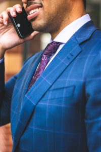 A businessman talking on the phone