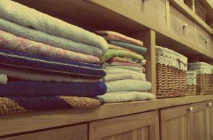 towels in a shelf