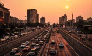 traffic jam at golden hour
