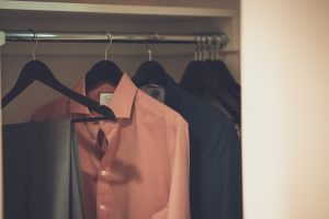 hanged clothes in a closet