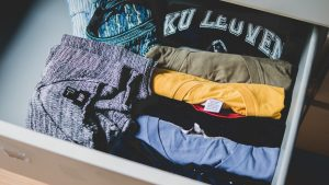 clothes sorted in a drawer