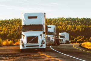 A convoy of transport trucks