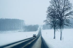 a car in a snowy road