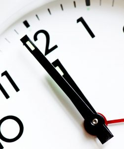a picture of a clock showing 1 minute to 12