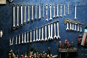 A set of tools in a garage