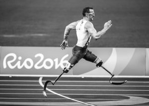 A Paralympic athlete running track during the Rio 2016 games.