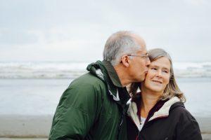 elderly man and woman on a florida beach