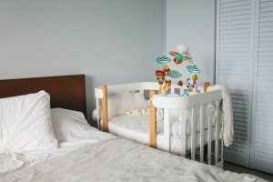 baby crib in a bedroom