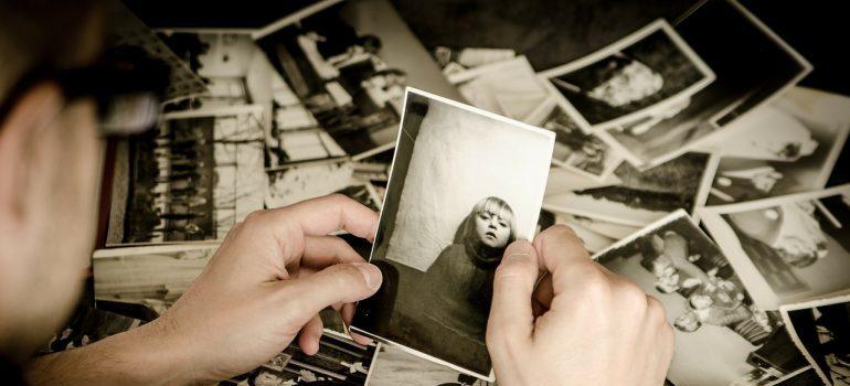 Man watching old photos