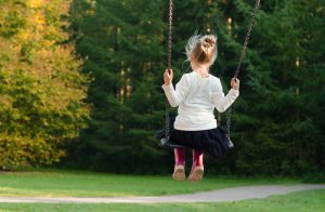 girl on a swing in the park