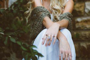 woman wearing rings
