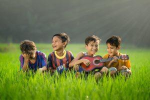 Happy children in a field
