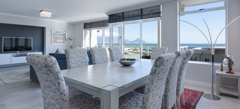 Modern dining room with white furniture