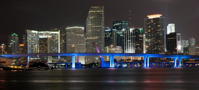Panoramic view of a big Florida city during night