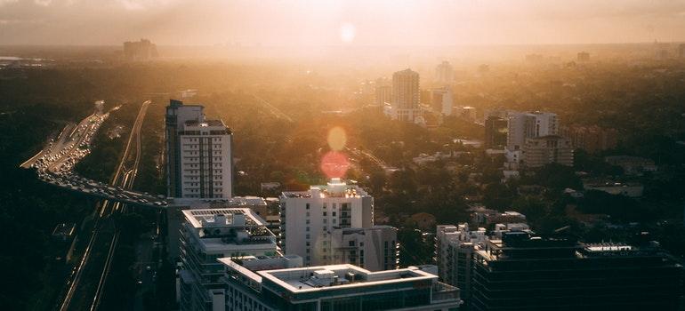 A Florida city during sunset.