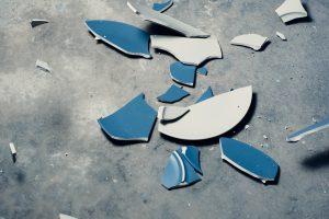 A broken blue plate